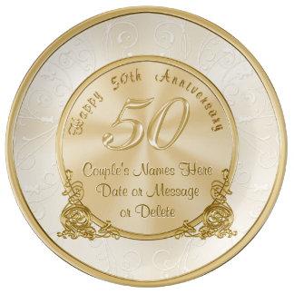 50.os regalos del aniversario de boda del plato de porcelana