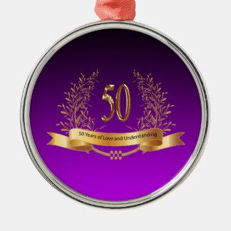 50.os regalos felices del aniversario de boda adorno navideño redondo de metal
