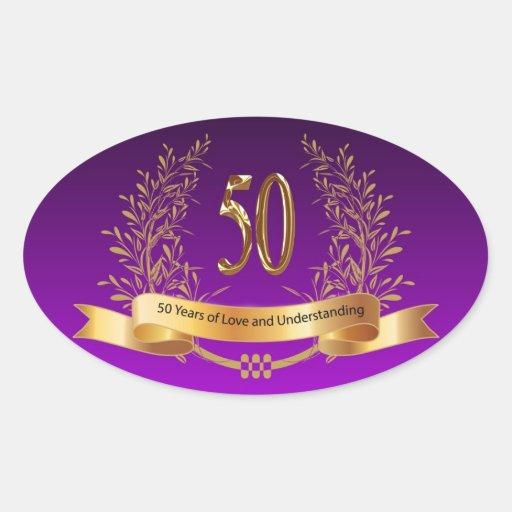 50.os regalos felices del aniversario de boda pegatina ovaladas personalizadas