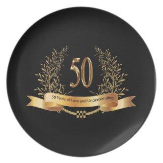 50.os regalos felices del aniversario de boda plato de cena
