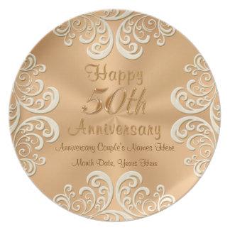 50 placas de oro del aniversario de boda plato