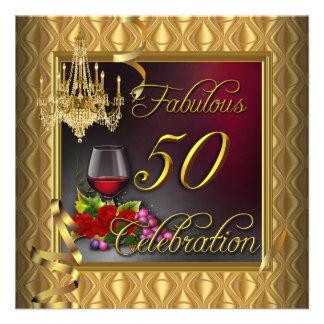 50 rosas rojos fabulosos del vino del oro de la ce invitaciones personales