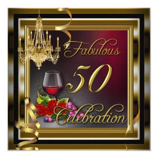 50 rosas rojos fabulosos del vino del oro de la invitación 13,3 cm x 13,3cm