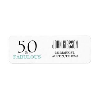 50 y 50.a etiqueta fabulosa del remite del etiqueta de remitente