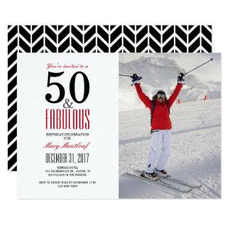 50 y 50.a invitación fabulosa del cumpleaños