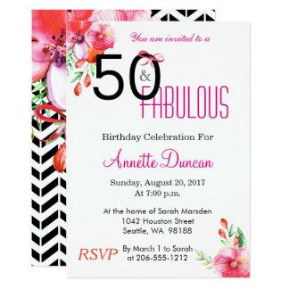 50 y 50.a invitación floral fabulosa del