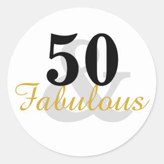 50 y 50.os pegatinas fabulosos del cumpleaños pegatina redonda