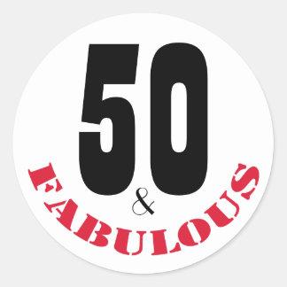50 y cumpleaños de la tipografía fabulosa del | pegatina redonda