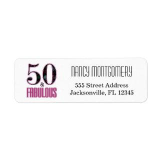 50 y cumpleaños de la tipografía negra rosada etiquetas de remite