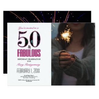 50 y cumpleaños fabuloso Invititation de la Invitación 12,7 X 17,8 Cm