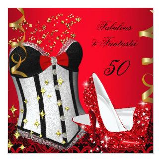 50 y cumpleaños negro rojo fantástico fabuloso 2 invitación 13,3 cm x 13,3cm