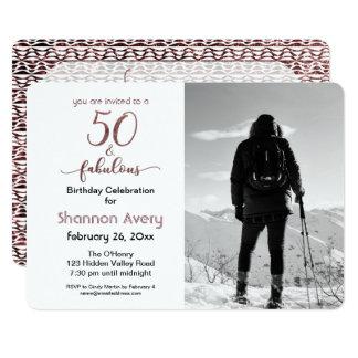50 y fiesta fabuloso con falso oro color de rosa y invitación 12,7 x 17,8 cm