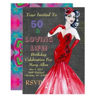 50 y invitaciones cariñosas del fiesta de la vida invitación 12,7 x 17,8 cm