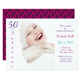 50 y personalizado azul púrpura rosado fabuloso invitación 12,7 x 17,8 cm
