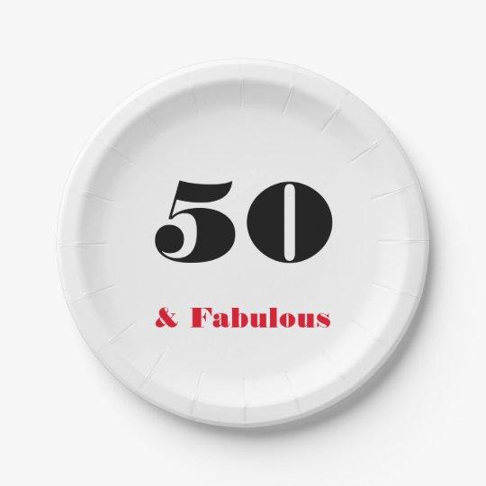 50 y placa de papel de la persona mayor fabulosa plato de papel