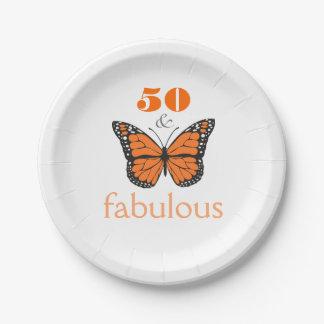 50 y placa de papel fabulosa de la fiesta de plato de papel