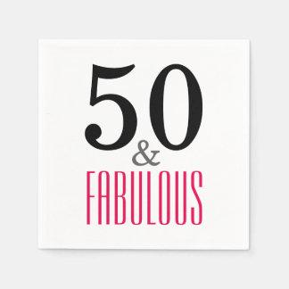 50 y servilletas de papel fabulosas de la fiesta