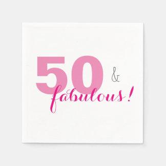 50 y servilletas de papel rosadas fabulosas de la
