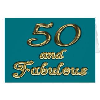 50 y tarjeta de felicitación fabulosa