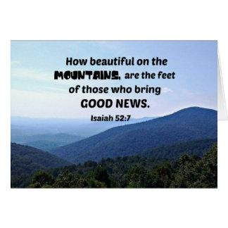 52:7 de Isaías cómo es hermoso en las montañas sea Tarjeta