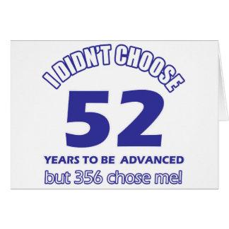 52 años de adelanto tarjeta de felicitación