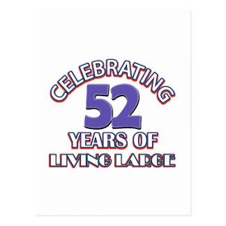 52 años de diseños grandes de vida del cumpleaños postal