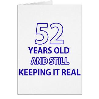 52 años del diseño del cumpleaños tarjeta de felicitación