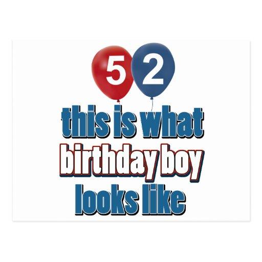 52.os diseños años del cumpleaños tarjeta postal
