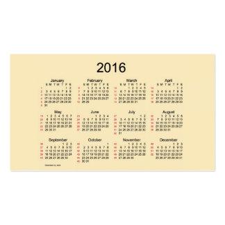 52 tarjetas 2016 de visita del calendario de la tarjetas de visita