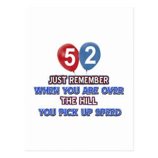 52 y sobre los diseños del cumpleaños de la colina postal