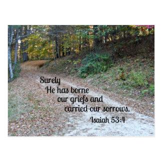 53:4 de Isaías él ha llevado seguramente nuestras  Postal