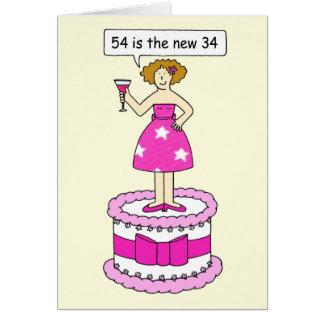 54 es el nuevo humor de la edad de 34 cumpleaños tarjeta de felicitación