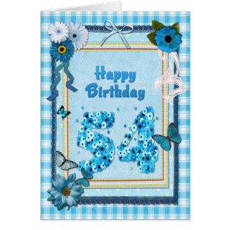 54.o Cumpleaños con un efecto del libro de Tarjeta De Felicitación