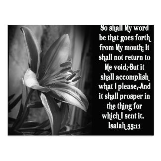 55:11 DE ISAÍAS DE LA ESCRITURA DE LA BIBLIA POSTAL