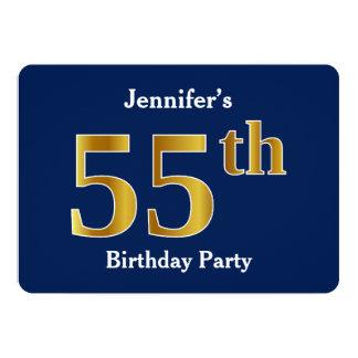 55.a fiesta de cumpleaños del oro azul, falso + invitación 12,7 x 17,8 cm