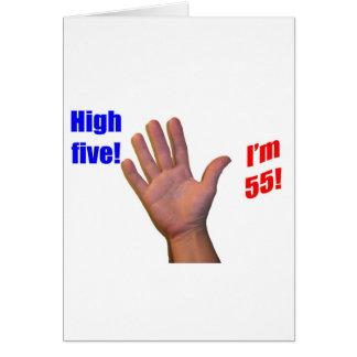 ¡55 altos cinco! tarjeta de felicitación
