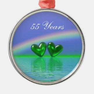 55.o Corazones de la esmeralda del aniversario Adorno Redondo Plateado