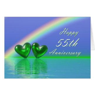 55.o Corazones de la esmeralda del aniversario Tarjeta De Felicitación