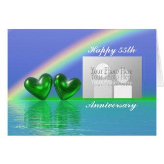 55.o Corazones esmeralda del aniversario (para la Tarjeta De Felicitación