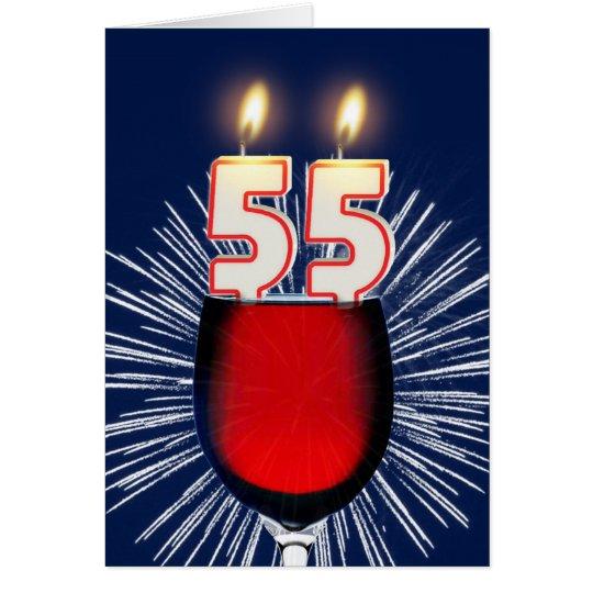 55.o Cumpleaños con el vino y las velas Tarjeta De Felicitación