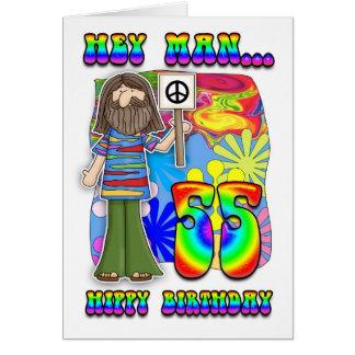 55.o cumpleaños maravilloso - cumpleaños del hippy tarjeta de felicitación