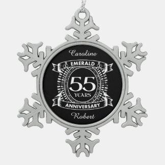 55.o escudo de la esmeralda del aniversario de adorno de peltre tipo copo de nieve
