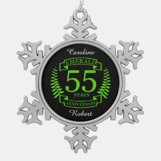 55.o ESMERALDA del ANIVERSARIO de boda Adorno De Peltre Tipo Copo De Nieve