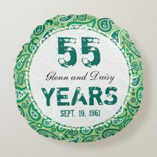 55.o Modelo esmeralda de Paisley del aniversario Cojín Redondo