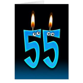 55.o Velas del cumpleaños Tarjeta De Felicitación
