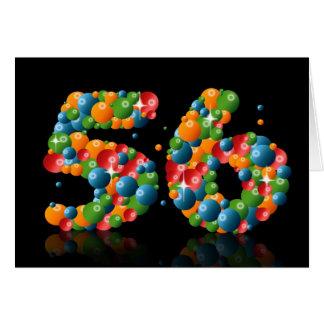56.o cumpleaños con los números formados de bolas felicitaciones