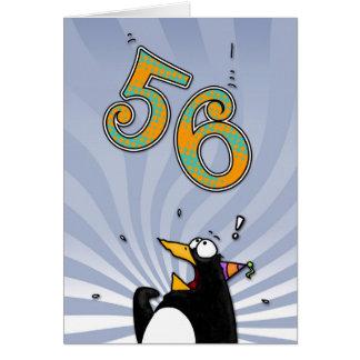 56.o cumpleaños - tarjeta de la sorpresa del pingü