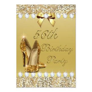 56.o El oro con clase del cumpleaños se inclina Invitación 12,7 X 17,8 Cm