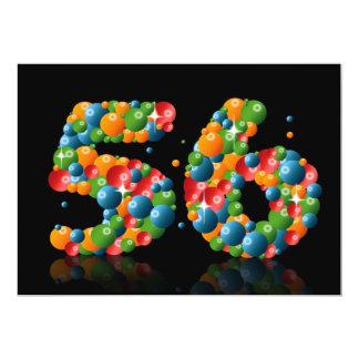56.o Fiesta de cumpleaños, con las burbujas y las Invitación 12,7 X 17,8 Cm