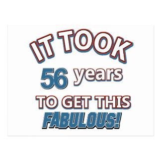 56.os diseños del cumpleaños del año tarjeta postal
